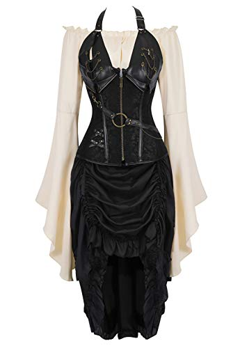 Grebrafan Conjunto de Cors Mujer Corset Cuero y Falda Pirata y Blanco Blusa Fiesta (EUR(36-38) L, Negro)