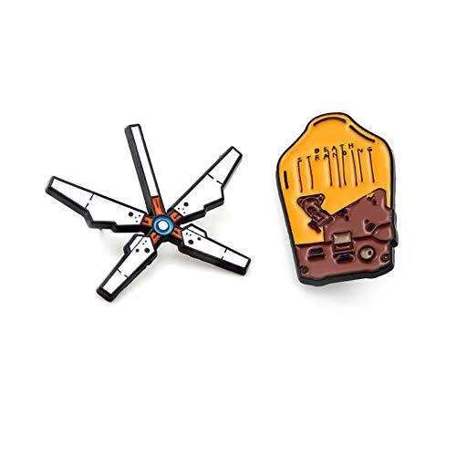 2 piezas juego Death Stranding juego mochila broche insignias esmalte broches de metal pines coleccionables accesorios de regalo