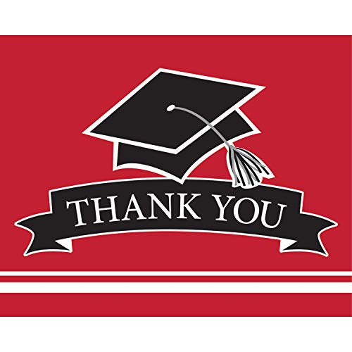 Graduation School Spirit Red Thank You Notes, 50 ct