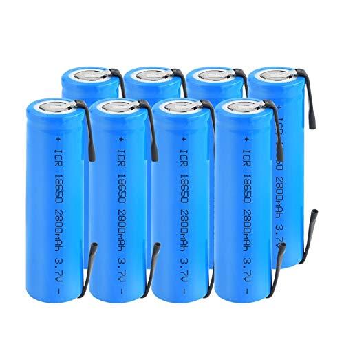RitzyRose Batería de iones de litio de 3,7 V 2800 mAh ICR 18650, con pilas recargables con pestañas para linterna portátil para proyector 8 unidades