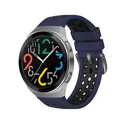 MPWPQ Correa de Silicona Oficial de Dos Colores para Huawei Watch GT 2E Dediced Dediced Edition Watch Band para Watch GT 2E Accessories (Band Color : Dark Blue Black, Size : For GT 2e)