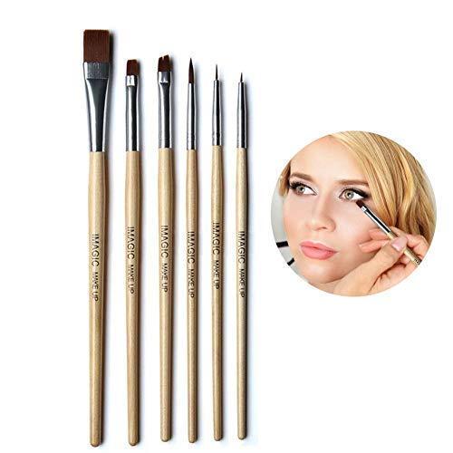 Art cosmétique brosses de peinture, 6pcs / Set maquillage coloré Woody Tools - Artiste Kits de peinture professionnelle visage et corps avec embouts en nylon synthétique