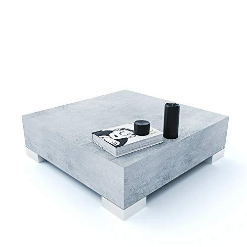 Sechura Tavolino Tavolo Basso Da Caffè Quadrato da Salotto Ufficio Tavolino In Legno, Design Moderno Elegante Minimal 60 x 60 x 18 cm (Grigio Cemento)