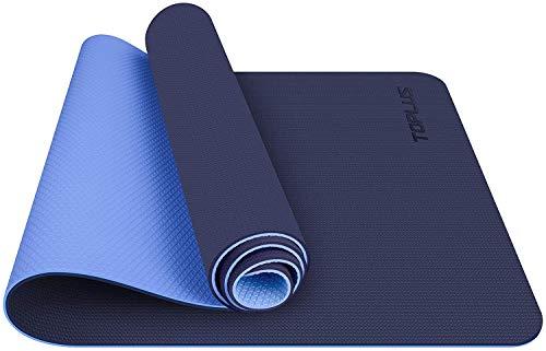 TOPLUS Esterilla Yoga Antideslizante Nivel Profesional Alfombrilla de Yoga Esterilla Pilates Esterilla Deporte- con Correa de Hombro 183cm x 61cm (Azul)