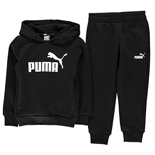 PUMA Jungen Sweatshirt mit Kapuze und Hose, Schwarz 7-8 Jahre