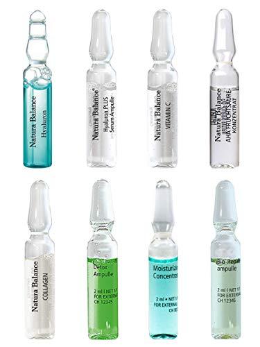 24 TAGES KUR Gesichtspflege 24 Ampullen 8 Sorten Ampulle a 2ml Hyaluron Serum Augenfalten Kollagen Fruchtsäure Vitamin C Feuchtigkeit