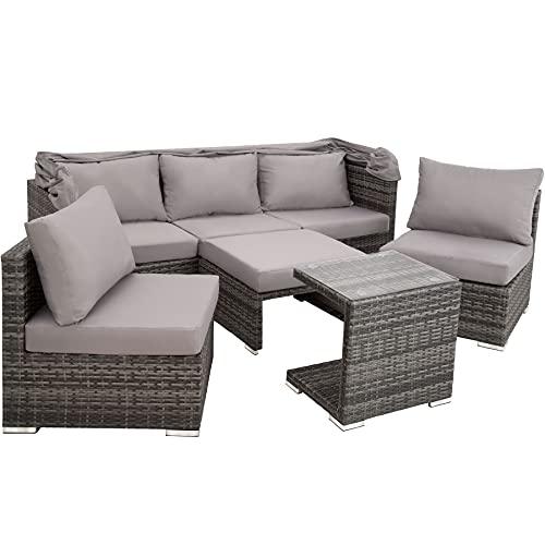 TecTake 800771 Aluminium Poly Rattan Lounge Set, 16-teilig, wetterfest, Garten Sofa mit Sonnendach, Outdoor Sitzgruppe inkl. Kissen und Beistelltisch – Diverse Farben – (Grau | Nr. 403237) - 3