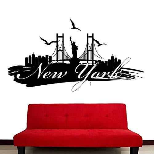 Edificio emblemático del horizonte de la ciudad de Nueva York estatua de la libertad pegatina de pared vinilo arte calcomanía dormitorio sala de estar Oficina decoración del hogar mural