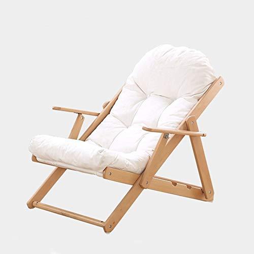 YLCJ Lounge stoel opvouwbare pauze lunch kinderbedje opklapbed schommelstoel bed houten balkon stoel opklapbare stoel (kleur: rood) Kleur: wit