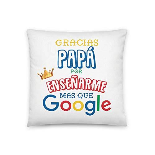 Kembilove Cojín para Padre – Cojines con Frases Graciosas para Padres Gracias Papá por enseñarme mas Que Google – Regalos Originales para el día del Padre – Cojines Suaves y Cómodos