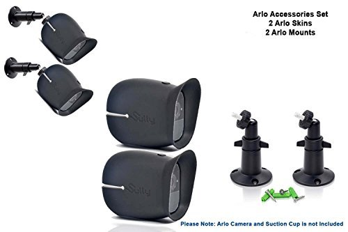 Accessories Kit for Arlo Pro and Pro2 Camera w/ (2pcs) Arlo Pro & Pro2 Skins and (2pcs) 10cm Arlo Camera Mount Black Arlo Netgear Security Wireless Covers Case Outdoors Wall Adjustable Pro 2 by Sully