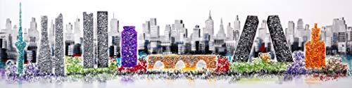 Cuadro Pintado Skyline de Madrid 160x42 cm, con Piedras Brillantes.100% Original