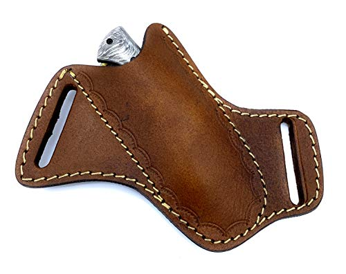 5' long custom handmade folding knife leather sheath pocket knife leather sheath
