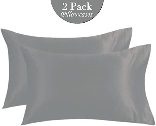 Faatoop 2 Pack Satin Pillowcases For Hair And Skin Soft Cool Envelope Closure Luxury Silky Pillow Covers Cases Deep Grey Queen 20 X30