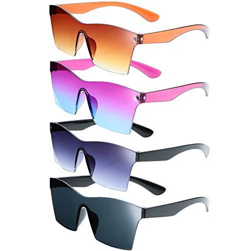 4 pares de gafas de sol cuadradas de gran tamaño sin montura de color caramelo unisex para mujeres y hombres