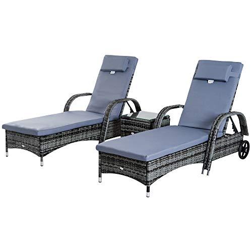 Outsunny Set de 2 Tumbonas Chaise Longue + 1 Mesa de Ratan para Jardín o Terraza Sillas con Cojín y Respaldo Ajustable a 5 Niveles (Gris)