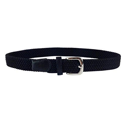 Colkor Elastischer Gürtel geflochten für Kinder junge Mädchen unisex, stretchGürtel Breite 2,5cm -schwarz-80cm