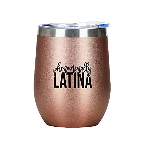 Bicchiere da vino a doppia parete sottovuoto, per champagne, cocktail, birra, vino isolato, con coperchio, fenomenalmente latina, regalo per amici e festa del papà, colore: oro rosa