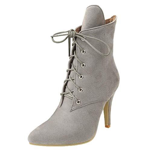 MISSUIT Damen Spitze High Heels Stiefeletten mit Schnürung Stiletto Ankle Boots Schnür Reißverschluss 10cm Absatz(Grau,44)