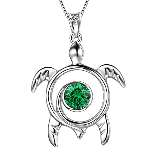 Aurora Tears Green Turtle Necklace Celtic Spiral 925 Sterling Silver May-Emerald Sea Animal Viking Swirls Turtle Pendant Women Birthstone Ancient Symbol Crystal Cute Jewelry DP0172