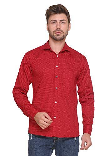 ZAKOD Men's Polka Print Cotton Regular Fit Formal Shirt (Maroon, Medium)