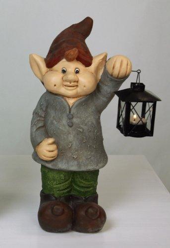 KLP Gartenzwerg Wichtel Zwerg mit Laterne Gartenfigur Deko Skulptur Dekofigur Keramik
