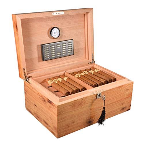 Rangements Humidors À Cigares Caves À Cigares 70 Boîte De Rangement Double Pour Cigares Étui À Cigarettes Équipé D'un Humidificateur Et D'un Hygromètre Cadeau (Color : Yellow, Size : 25 * 36 * 17cm)