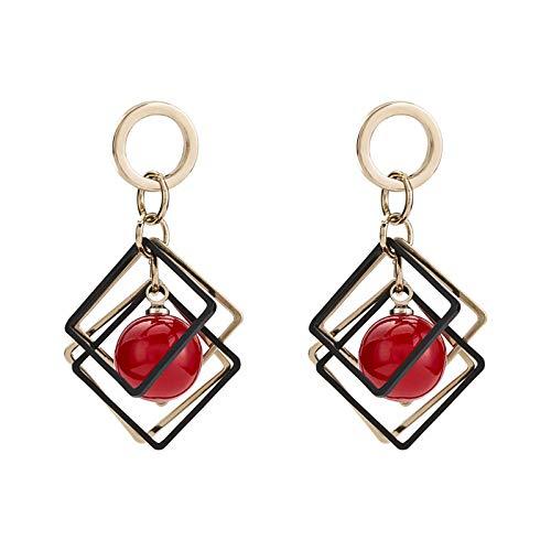 WYJW Temperament geometrische Diamant Kirsche Perlen Ohrringe, weibliche japanische und koreanische Mode Wilde Ohrringe Ohrschmuck