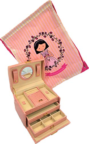 LBA Schmuckkästchen mit 2 Schubladen und Spiegel + Geschenk für die Kommunion, Kunstleder, Rosa