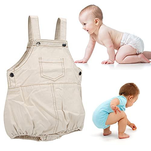 SALUTUY Trajes de una Pieza para bebés, Mameluco de algodón Transpirable Suave y Agradable para la Piel con diseño sin Mangas para el hogar para bebés(Apricot, 100cm)