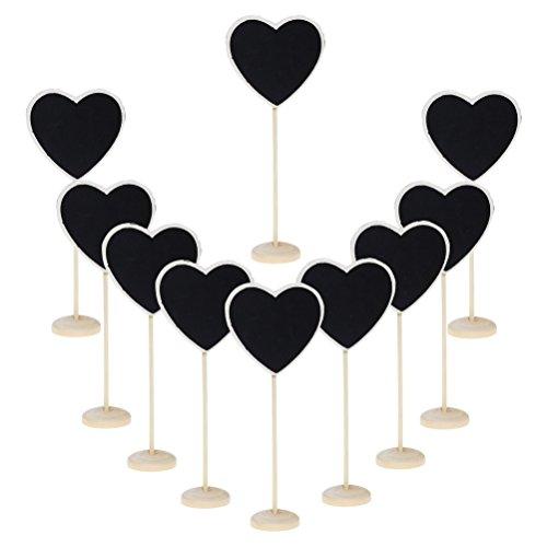 Sumaju Mini Kreidetafel, klein, Spitzen-geformtes Herz, Tafel mit Ständer, Nachricht, Label, Geschenkanhänger, Holz, 10Stück, Herz