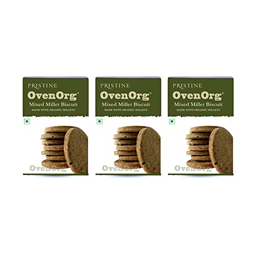 PRISTINE OvenOrg Organic Mixed Millet Biscuits Regular, 150 g (Pack of 3)