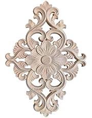 Heallily apliques onlay tallados en madera tallado flores apliques de muebles de madera marco puerta puerta armario decoración decorativa tamaño 2