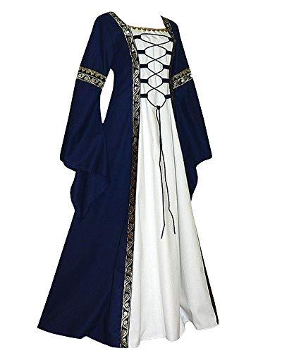 Qianshan Maomo Womens Vintage Dresses Celtic Long Sleeve Medieval Maxi Dresses Renaissance Gothic Cosplay Dress Navy