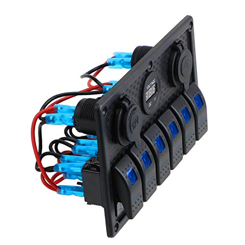 Toygogo Panel de Interruptor Basculante Multifuncional a Prueba de Agua Interruptor de Luz Antiniebla Interruptor de Luz de Visión Amplia ABS + Aluminio Fácil - Luz azul