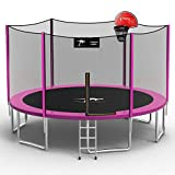 Kangaroo Hoppers 14 FT Trampoline with Safety Enclosure Net, Basketball Hoop and Ladder -2021 Upgraded Kids Basketball Hoop Trampoline -TUV & ASTM Tested (PINK-14FT)