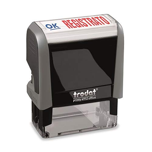 Trodat Office Printy 4912 Timbro Autoinchiostrante con Testo Commerciale REGISTRATO, Bicolore Blu-Rosso, 47 x 18 mm