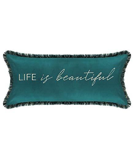 Feel embroidered velvet cushion 25 x 58