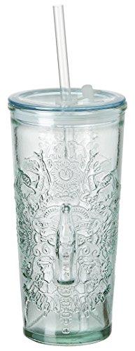 Coca Cola Relief Glas To Go Wappen, 530 ml, Trinkbecher aus 100% recyceltem Glas mit Deckel und Trinkhalm