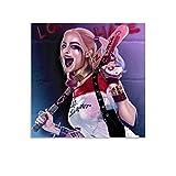 Harley Quinn Pintura Bate de Béisbol Raptor Death Team Poster Pintura Decorativa Lienzo Arte de la Pared de la Sala de estar Carteles Dormitorio Pintura 24x24 pulgadas (60x60cm)