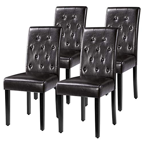 Yaheetech 4pcs Modern Brown Dining Chairs Kitchen Chairs PVC Leather with Solid Wooden Legs Button Tufted Backrest for Dining Room Cafe Furniture