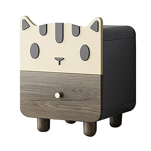 XIANGE100-SHOP Mesita Mesa de Noche Marrones con 2 cajones Nightstand en Forma de Gato Adecuado para niños Dormitorio Gabinete de Almacenamiento, Tablón Ambiental, 15.7'L X14.5 W X20 H Gabinete