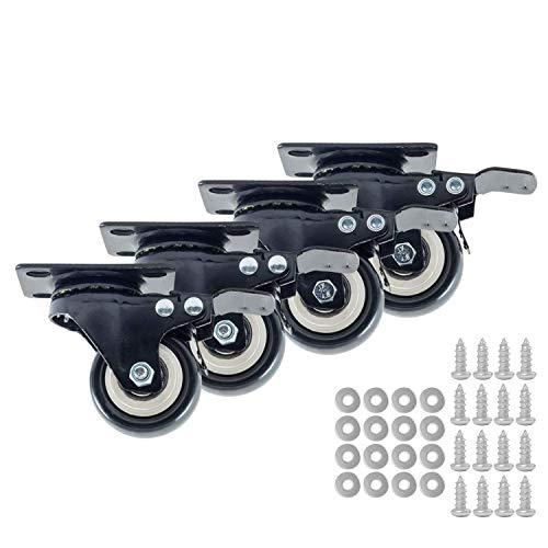 Houseables Caster Wheels, 4 Locking Castors, 2 Inch, Black, Heavy Duty, 600 LB Total Capacity, Metal Swivel Brake Casters, Locking, Rubber Wheel, Castor Set, for Furniture, Dolly, Carts