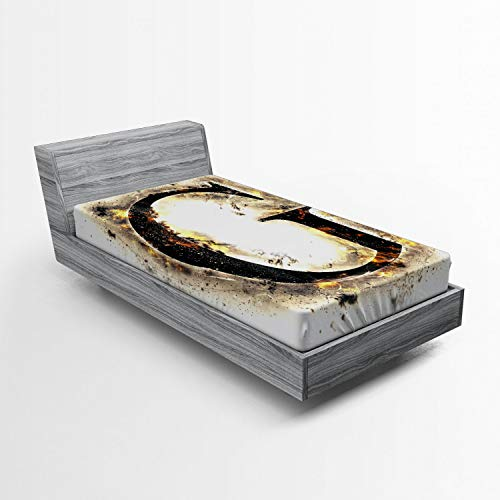 ABAKUHAUS Letra G Sábana Elastizada, Blaze Alfabeto Quemado, Suave Tela Decorativa Estampada Elástico en el Borde, 90 x 200 cm, Tan Negro Amarillo