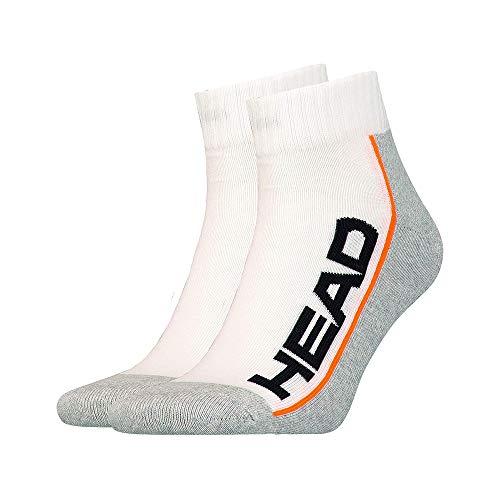 HEAD, Stripe Quarter Sportsocken 2er Pack-Weiß, Hellgrau, Socken, 43-46