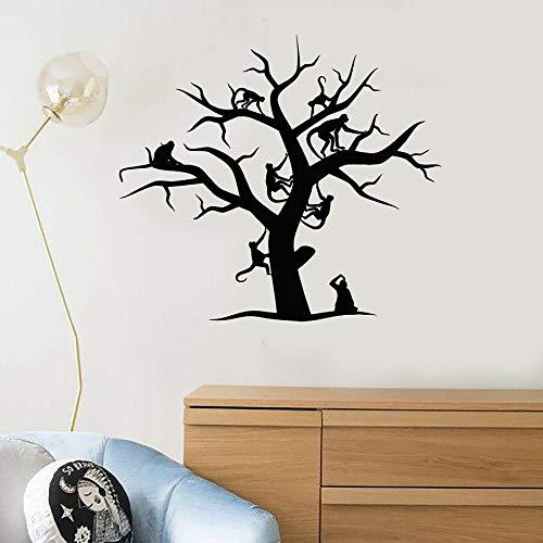 Calcomanía de pared de mono árbol Animal dormitorio de los niños habitación de bebé jardín de infantes sala de juegos Interior arte vinilo ventana pegatina mural artístico