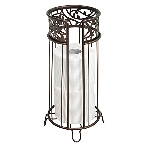 mDesign Decorative Free Standing Toilet Paper Holder Stand with Storage for 3 Rolls of Toilet Tissue - for Bathroom/Powder Room - Holds Mega Rolls - Durable Metal Wire - Bronze