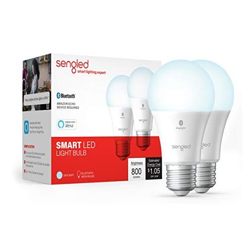 Sengled Smart Bulb, Bluetooth Mesh Smart Light Bulbs That Work with Alexa Only, Alexa Light Bulb Standard A19, Dimmable LED Blub Daylight 5000K, E26 60W Equivalent 800LM, 2 Pack