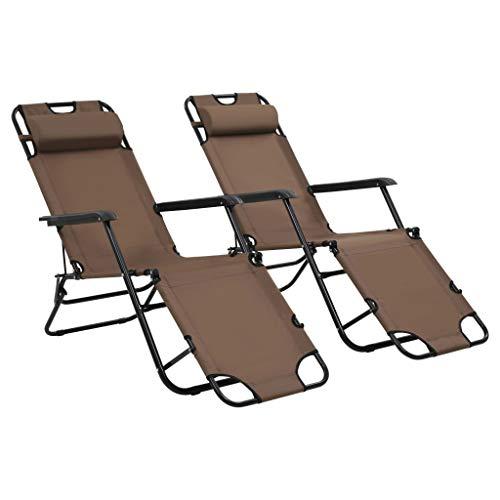 Festnight Lot de 2 pcs Chaise Longue Pliable de Jardin Bain de Soleil pour terrasse d'extérieur Patio Marron 175 x 61 x 87 cm