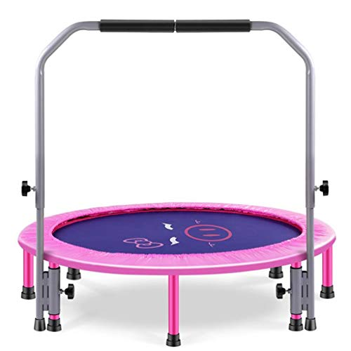 MBZL Kids Trampoline, Adult Fitness Trampoline with Safety Pad, Stable & Quiet Rebounder Indoor/Outdoor Fitness Body Exercise, Funny Trampoline (Color : Pink)